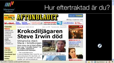 Aftonbladets artikel om Steve Irwins död med svarta kanter, Manpowers logotyp och texten 'Hur eftertraktad är du?'