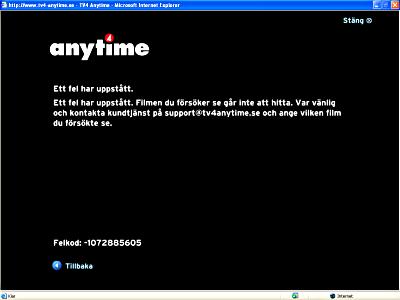 Felmeddelande i TV4 Anytime: Ett fel har uppstått