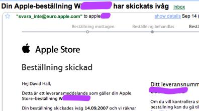 Urklipp från Apple Stores mejl som meddelar att min beställning är skickad. Rubriken är 'Din Apple-beställning ... har skickats ivåg [sic!]'
