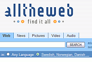 Språkvalet 'Swedish, Norwegian, Danish ...' i AlltheWeb.com
