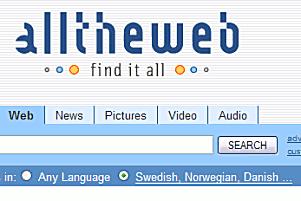 Språkvalet 'Swedish, Norwegian, Danish ...' i AlltheWeb.com