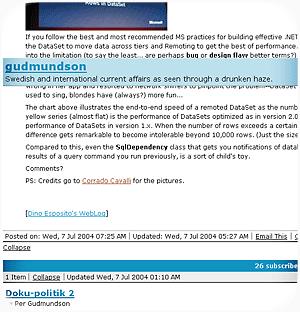 Bloglines nya design är lite buggig. Skärmbild från Mozilla Firefox 0.9.1