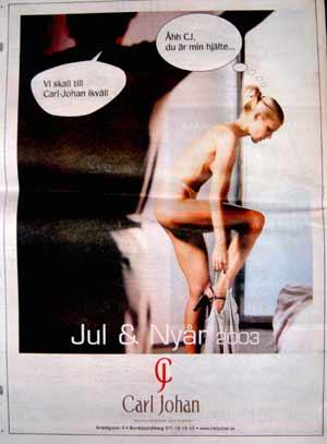 Annons för restaurangen Carl Johan. Fälld av Etiska rådet för könsdiskriminerande reklam.
