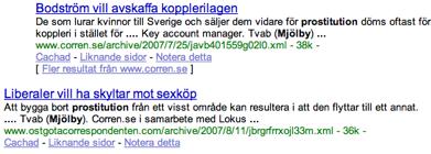 Träffar i sökresultat från Google som leder till servrarna www.corren.se och www.ostgotacorrespondenten.com