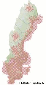 Täckningskarta för digital-TV i Sverige, september 2005