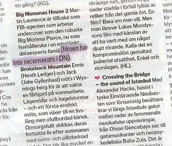 Faksimil från sammanfattningen av filmer i DN På stan. 'Crossing the Bridge - the sound of Istanbul' har ett rosa hjärta bredvid sig medan en kort beskrivning av 'Big Mommas House 2' följs av parentesen 'filmen har inte recenserats i DN'
