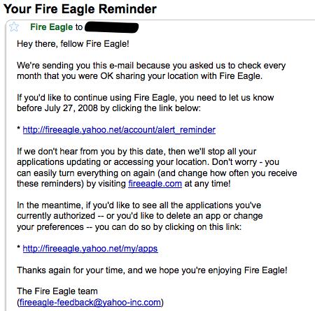 Påminnelsebrev från Fire Eagle