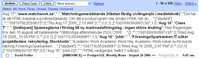 Listningen av e-postrubriker i Gmail har gått sönder och man får se arrayen med datat.