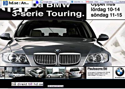 BMW-annons på Helsingborgs Dagblads förstasida