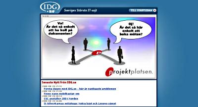 IDG:s förstasida med reklam för Projektplatsen.se