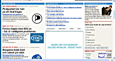 Nästa skärm på IDG:s egentliga förstasida. Först här kommer innehållet