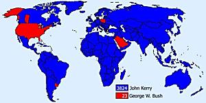 Världskarta där ländernas inställning till Bush och Kerry visas. Alla länder utom USA, Uruguay, Polen, Israel och Saudiarabien är för Kerry.