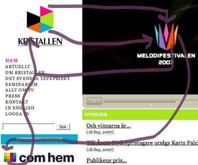 Faksimil från Kristallens webbplats som pekar ut likheter i färgschema mellan Kristallens, Melodifestivalens och Com hems logotyper