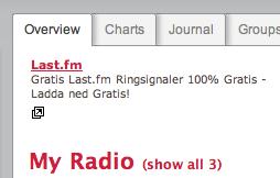 Google-annons på last.fm: 'Last.fm. Gratis Last.fm Ringsignaler 100% Gratis - Ladda ned Gratis!'
