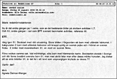 Bild av utskrift av Agneta Östman-Wengers e-postmeddelande 'omvänd rasism' till Länstidningen Södertälje