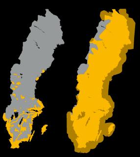 Illustration från företaget Nordisk mobiltelefon som jämför turbo-3G-täckningen i Sverige mellan det egna företaget och de andra näten. NMT:s nät täcker hela Sverige samt områden runt kusterna förutom delar av Norrlands inland. Konkurrenterna har täckning längst kusten från Bohuslän söderut till Skåne och sedan norrut till Upplandskusten med undantag av enstaka ställen på Smålandskusten. Utöver det har konkurrenterna täckning på Öland, Gotland samt på enstaka ställen i Småland, Östergötland, Svealand och Norrland.