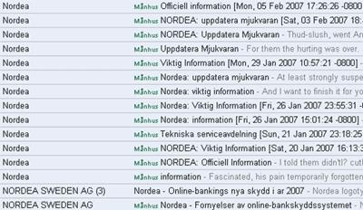 Lista med alla phishingmejl med Nordea som angiven avsändare som jag emottagit mellan 16 januari och 5 februari 2007