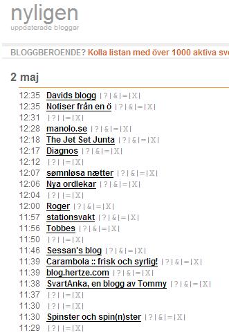 Bloggportalen nyligen.se utan länkar till bloggar från Bloggi.se och Smartstuff.se
