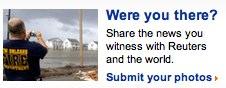 En länk med bild från Reuters webbplats som uppmanar besökaren att dela med sig av sina foton.