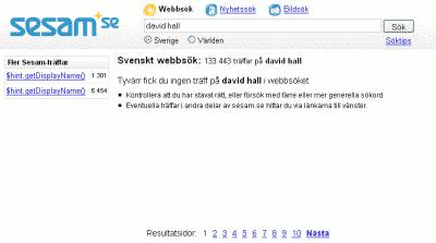 Sökresultat i sesam.se för sökningen 'david hall': Tyvärr fick du ingen träff på david hall i webbsöket