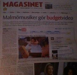 Skånska Dagbladet 14 juli om lågbudgetmusikvideo
