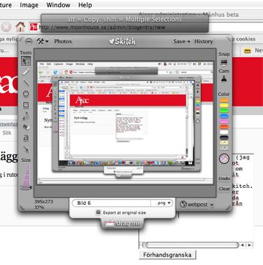 Skärmbild som visar programmet Skitch i aktion