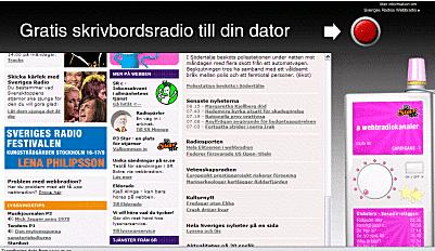 Sveriges Radios hemsida med distraherande objekt runt omkring.
