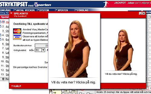 Svenska spels webbplats med en avatar som är ett foto på en kvinna med texten 'Vill du veta mer? Klicka på mig.'