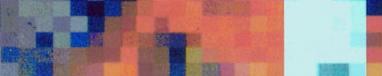 Utsnitt ur omslaget för Adolphson-Falks 'Över tid och rum'. Utsnittet innehåller pixlar i färgerna blått, turkos, orange och umbra
