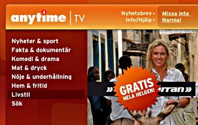 Skärmbild från TV4 Anytime med Linda Isacson och kategorivalet 'Livstil' [sic]